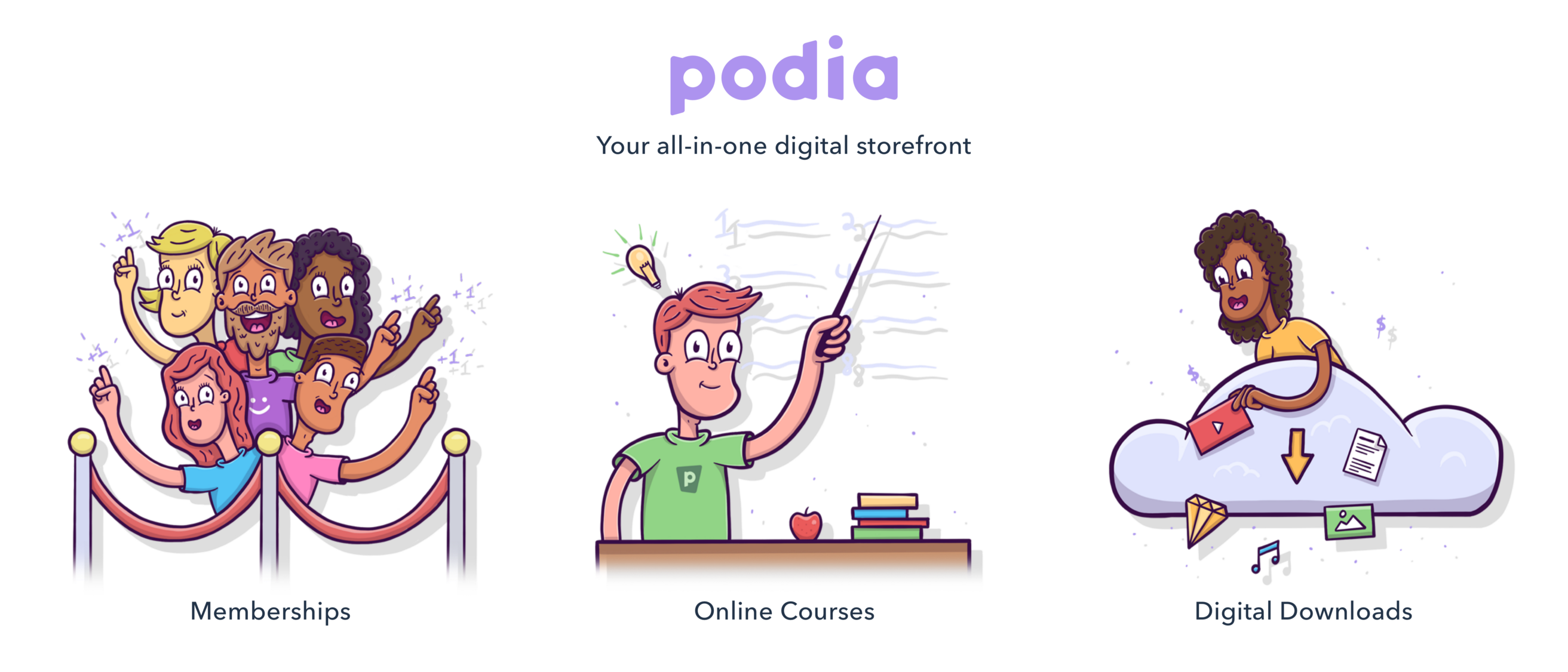 podia all in one digital storefront