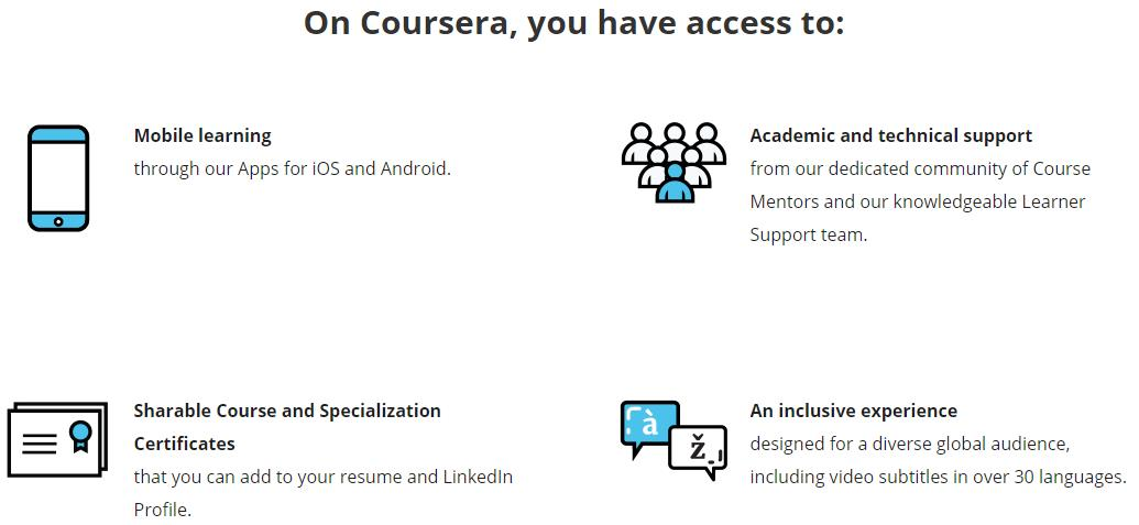 all of the features you have access to on coursera