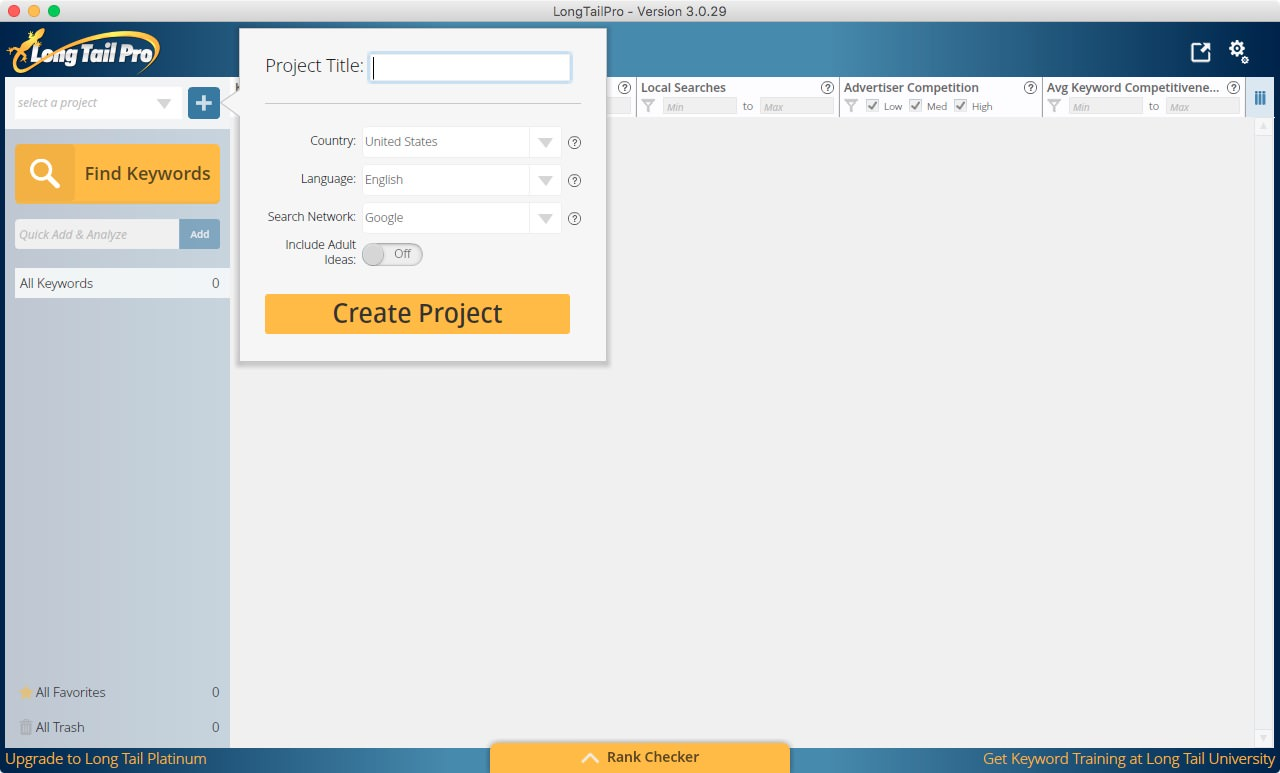 create a project in Long Tail Pro