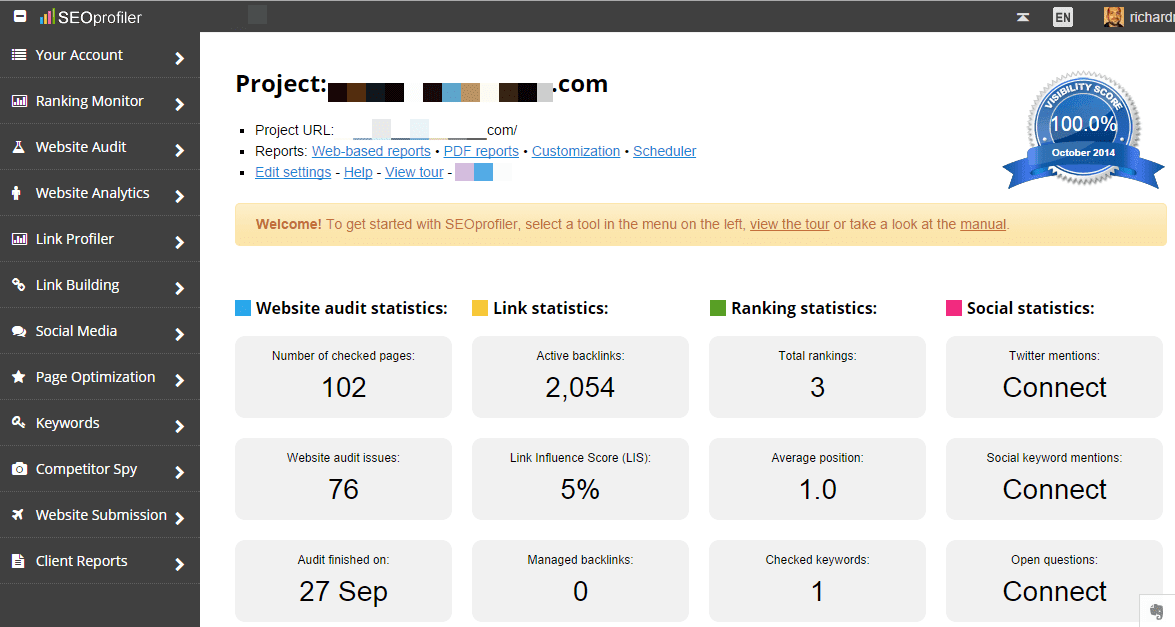 SEOprofiler SEO audit statistics
