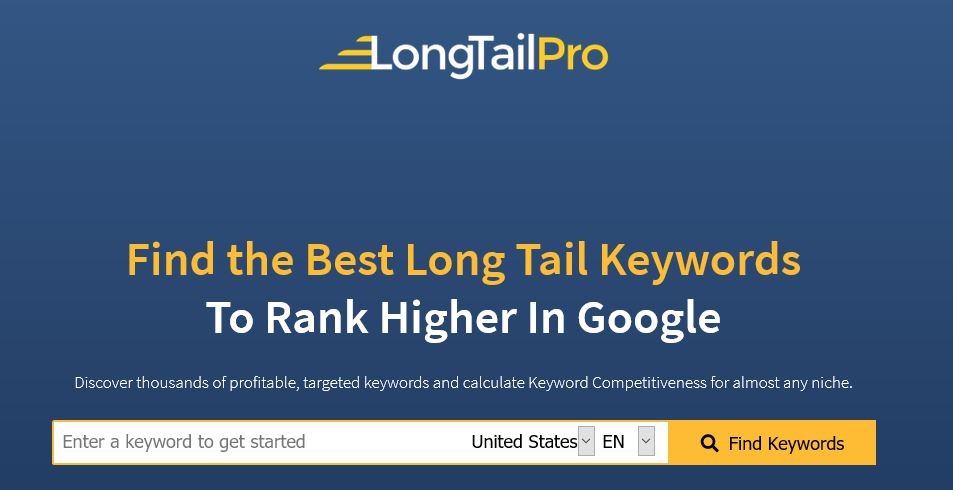 Find keywords search bar in LongTailPro