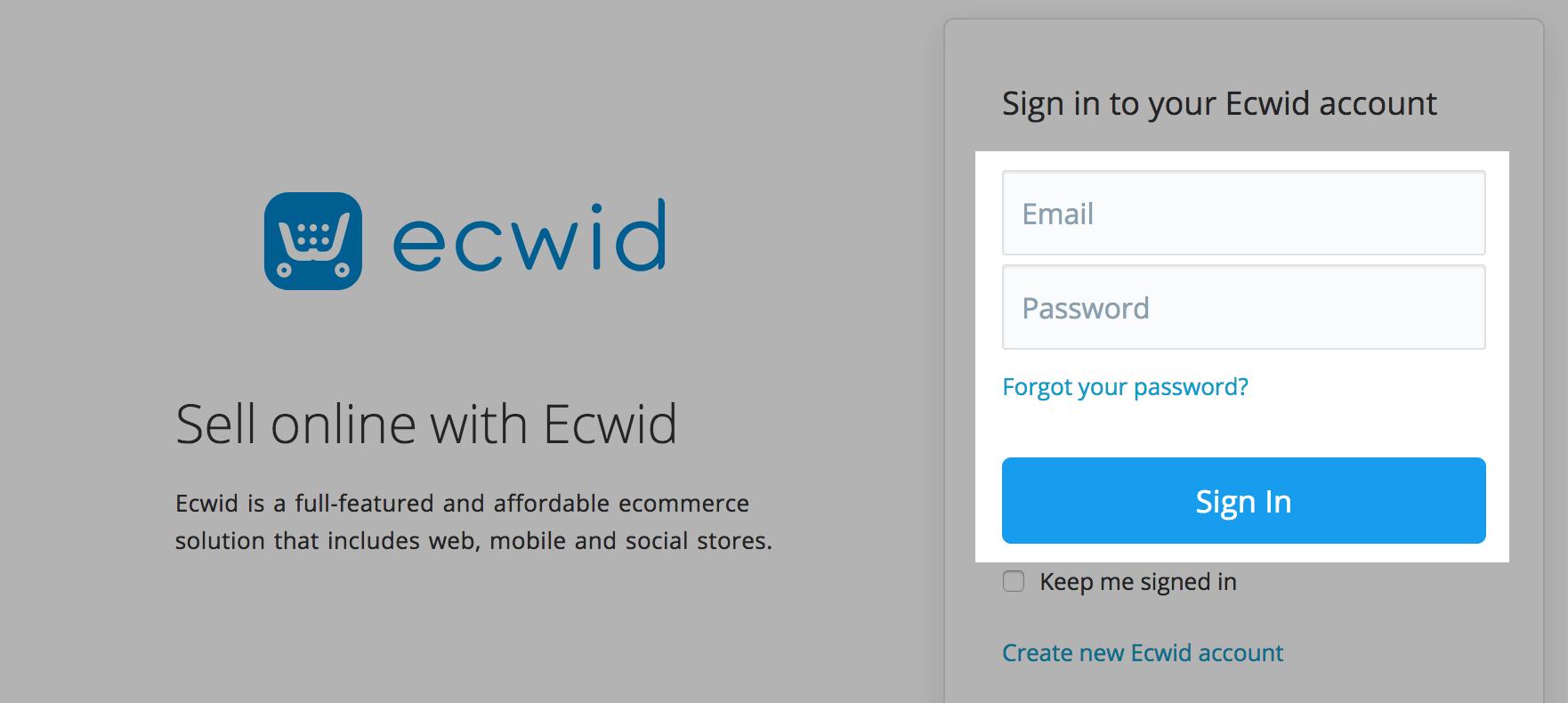 login to ecwid