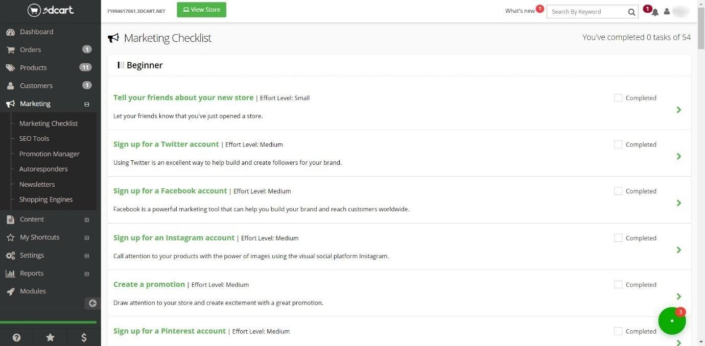 3dcart marketing tool