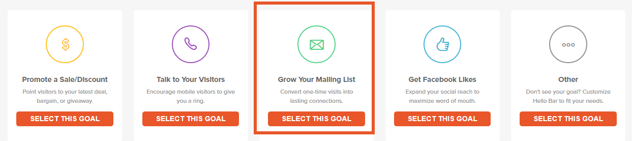 Grow your Mailing list with hello bar