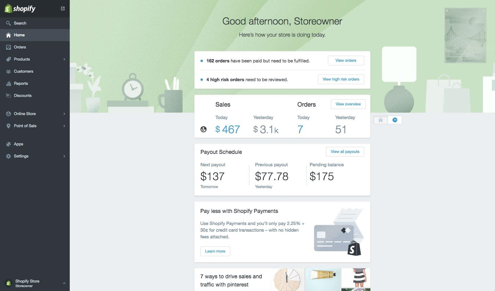 Shopify Home Dashboard
