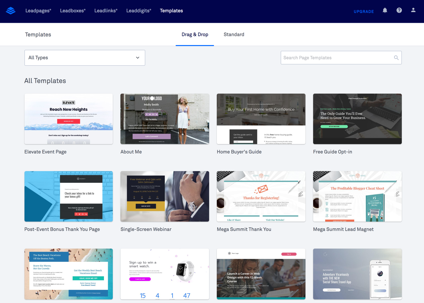 leadpages templates