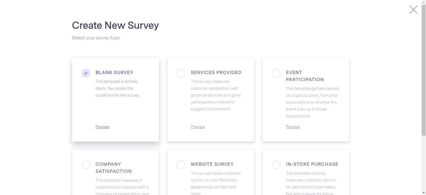 Create New Survey in Benchmark