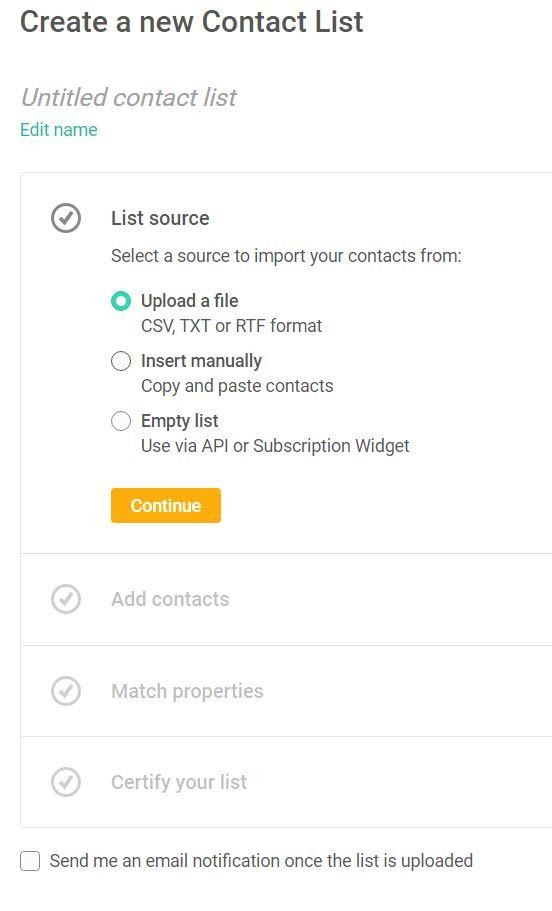 create a new contact list in mailjet