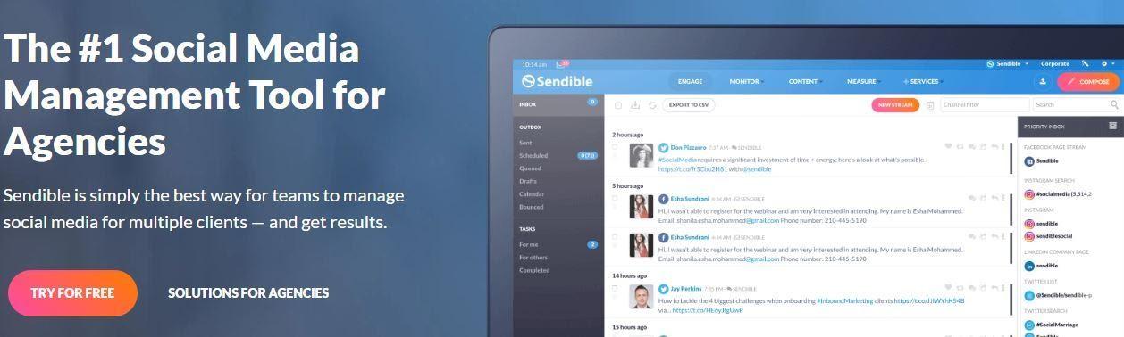 Sendible home page