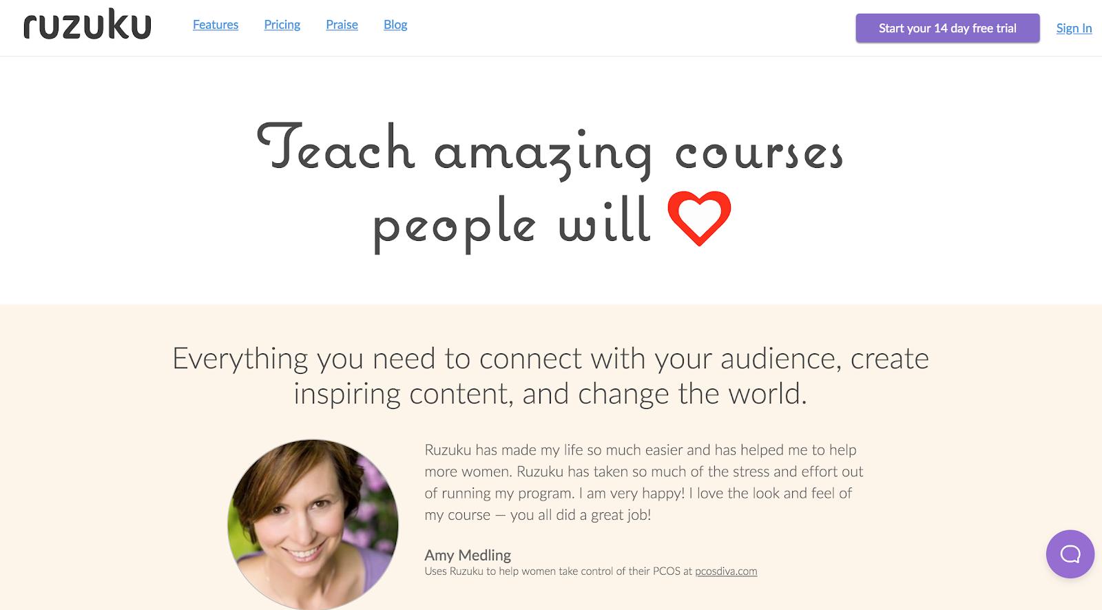 Ruzuku home page