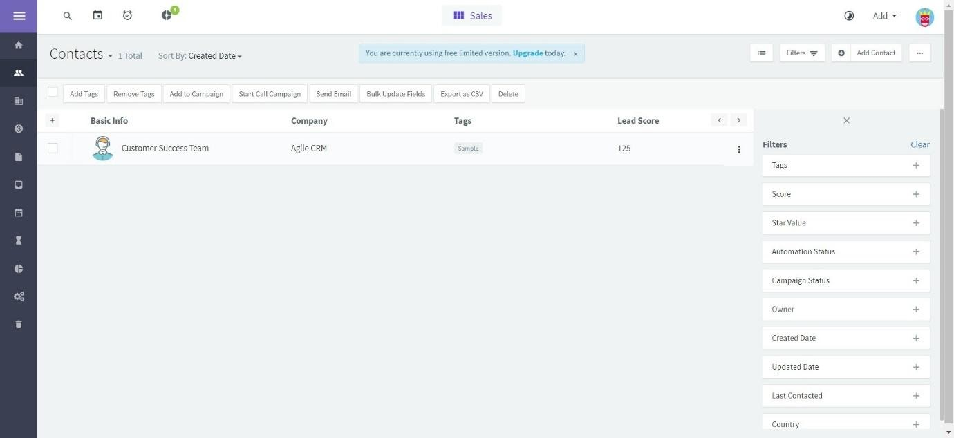 Agile CRM Contacts