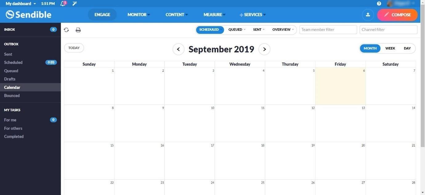 Sendible calendar view