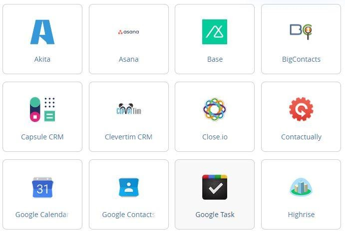 list of CRM Systems activecampaign lets you integrate with