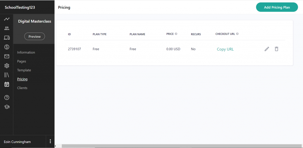 A screenshot to show readers that you can also add pricing to your courses easily