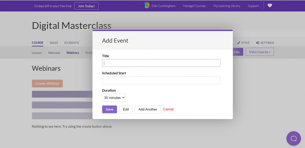 digital masterclass add event