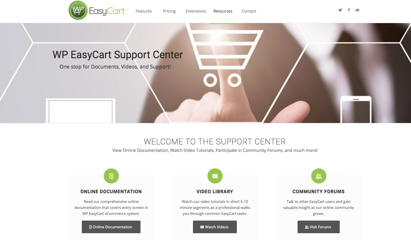 WP EasyCart support centre
